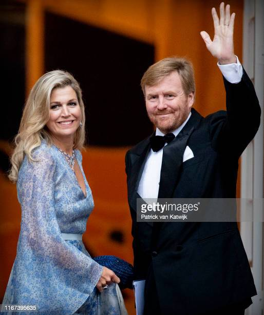 King WillemAlexander of The Netherlands and Queen Maxima of The Netherlands arrive at Noordeinde Palace for the gala diner for the members of the...