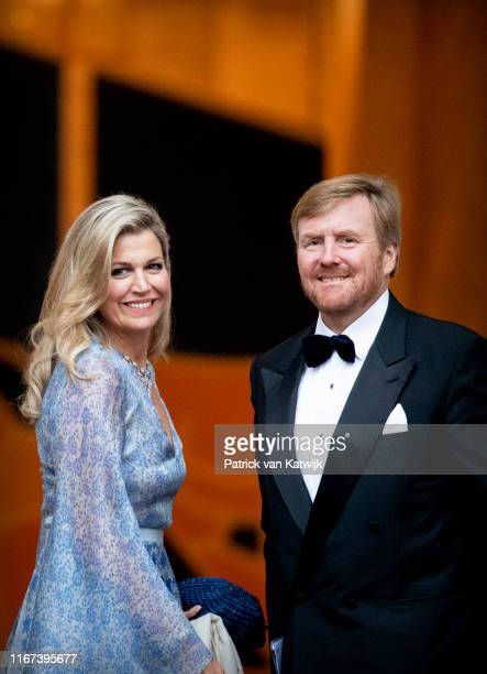 King Willem-Alexander of The Netherlands and Queen Maxima of The Netherlands arrive at Noordeinde Palace for the gala diner for the members of the...