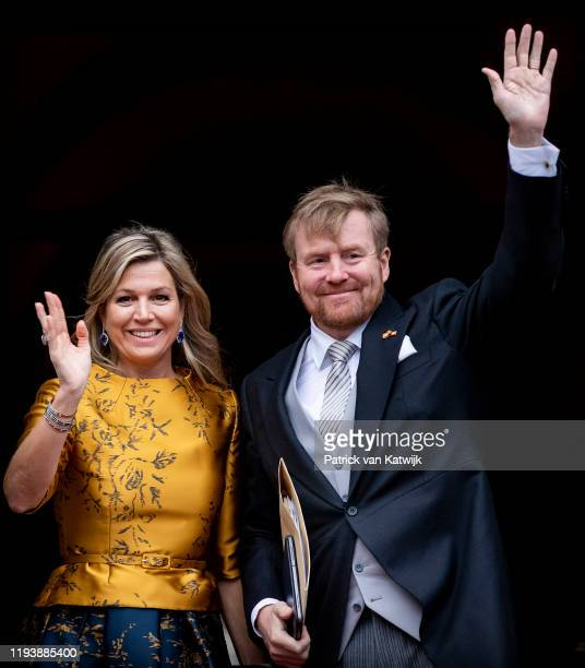 King Willem-Alexander of The Netherlands and Queen Maxima of The Netherlands arrive at the Royal Palace for the new year reception for the Diplomatic...