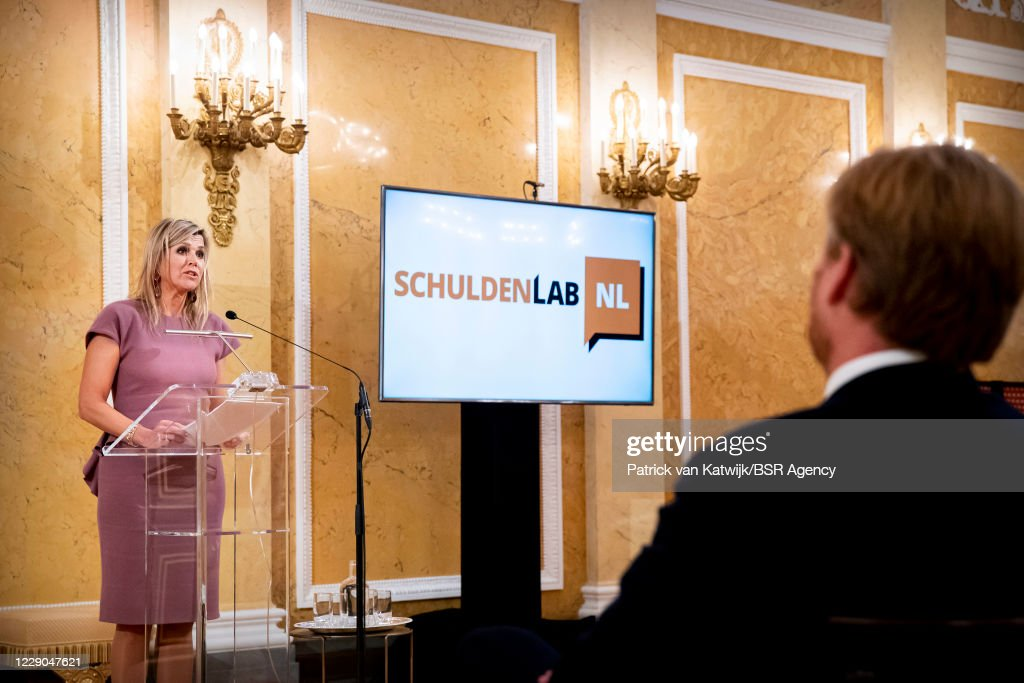 King Willem-Alexander Of The Netherlands And Queen Maxima Attend A Conference About Debt At Noordeinde Palace : News Photo