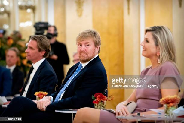 King Willem-Alexander of The Netherlands and Queen Maxima of The Netherlands at the start of Debt Free Netherlands at Noordeinde Palace on October...