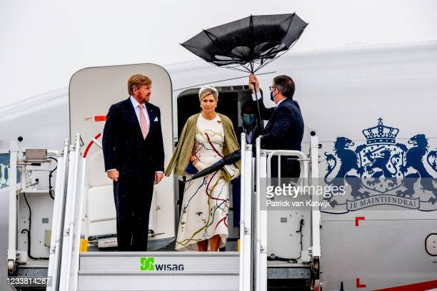 King Willem-Alexander of The Netherlands and Queen Maxima of The Netherlands arrive at the airport Berlin-Brandenburg Willy Brandt on July 5, 2021 in...