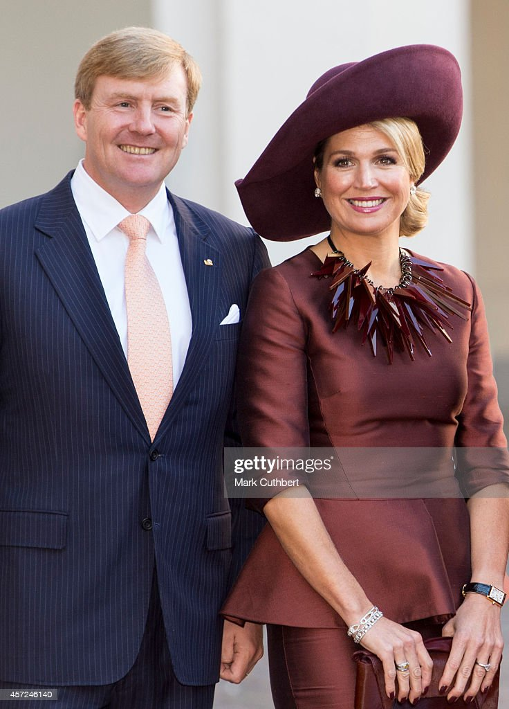 King Willem-Alexander of the Netherlands and Queen Maxima of the Netherlands at The Noordeinde Palace on October 15, 2014 in The Hague, Netherlands.