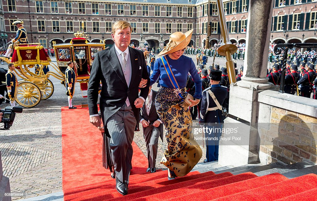 King Willem-Alexander of The Netherlands and Queen Maxima of The Netherlands arrive at the Hall of Knights (Ridderzaal) to attend the opening of the parliamentary year on September 20, 2016 in The Hague, The Netherlands.