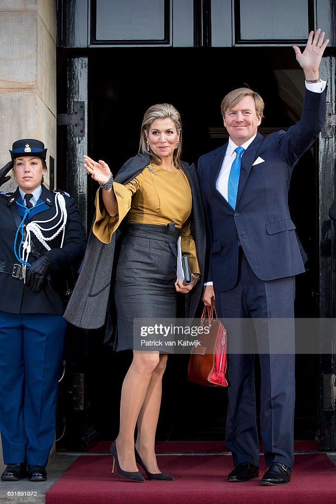 King Willem-Alexander And Queen Maxima Of The Netherlands Hold New Year Reception At The Royal Palace : News Photo