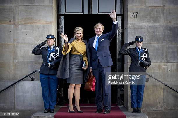 King WillemAlexander of the Netherlands and Queen Maxima of the Netherlands at the new year reception at the royal palace on January 17 2017 in...