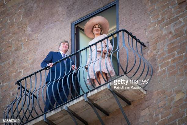 King Willem-Alexander of The Netherlands and Queen Maxima of The Netherlands at Campidoglio during the first day of a royal state visit to Italy at...