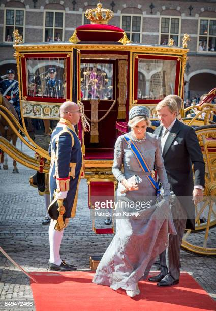 King WillemAlexander of The Netherlands and Queen Maxima of The Netherlands arrive at the Ridderzaal with the Glass Coach during Prinsjesdag on...