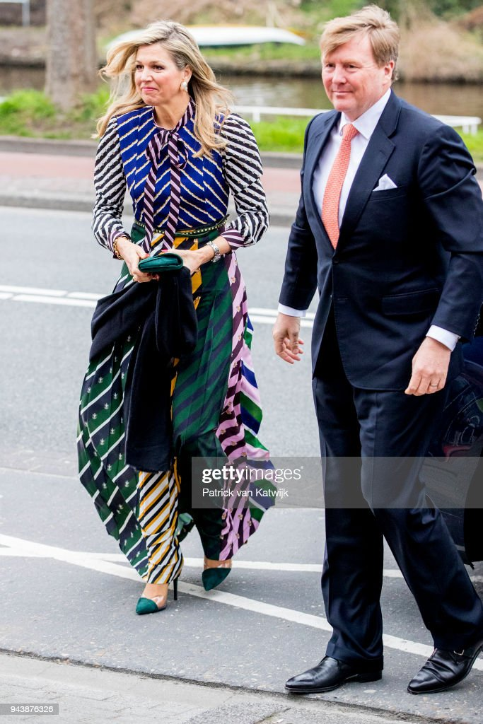King Willem-Alexander of The Netherlands and Queen Maxima of The Netherlands arrive at the Oosterpoort for the Kingsday concert on April 9, 2018 in Groningen, Netherlands.
