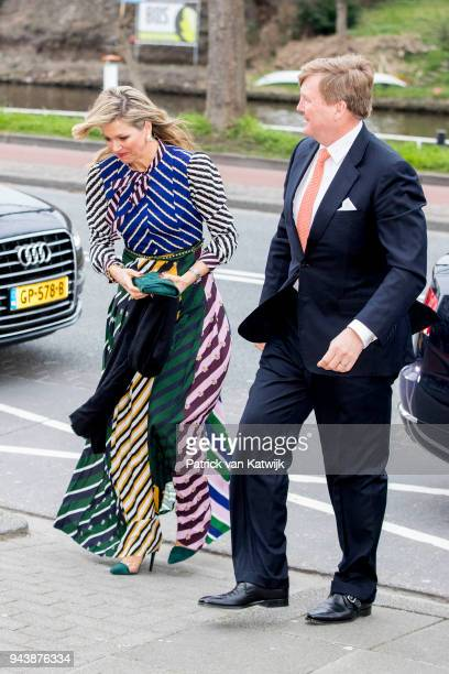 King WillemAlexander of The Netherlands and Queen Maxima of The Netherlands arrive at the Oosterpoort for the Kingsday concert on April 9 2018 in...