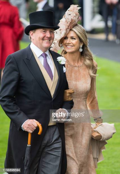 King Willem-Alexander of the Netherlands and Queen Maxima of the Netherlands attend day one of Royal Ascot at Ascot Racecourse on June 18, 2019 in...