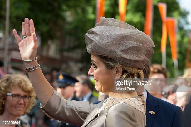King WillemAlexander of The Netherlands and Queen Maxima of The Netherlands arrive for an official visit to the Provincial Government Building on...