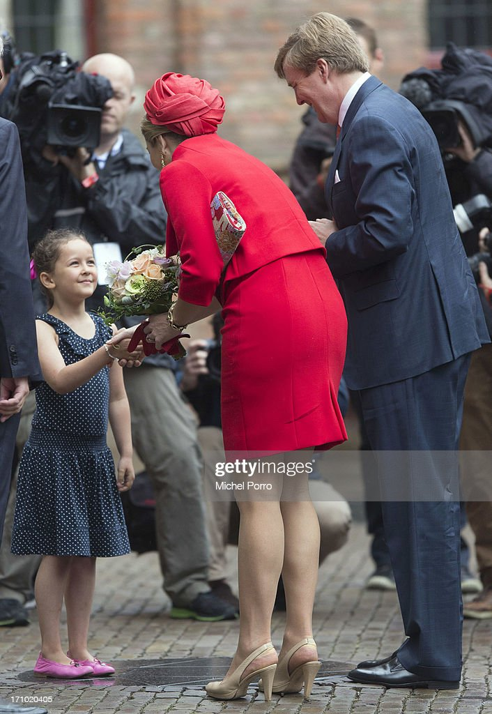 King Willem-Alexander of The Netherlands and Queen Maxima of The Netherlands arrive for an official visit on June 21, 2013 in Middelburg, Netherlands.