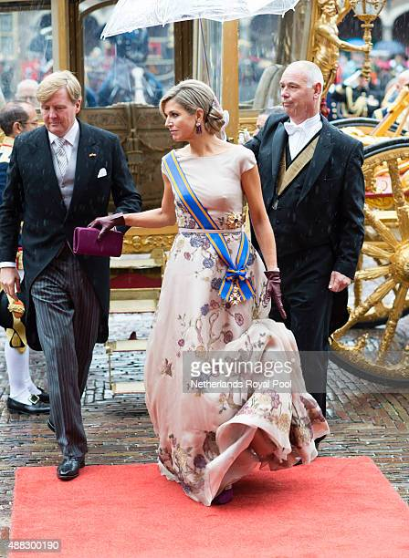 King Willem-Alexander of The Netherlands and Queen Maxima of The Netherlands arrive for the opening of the parliamentary year on September 15, 2015...