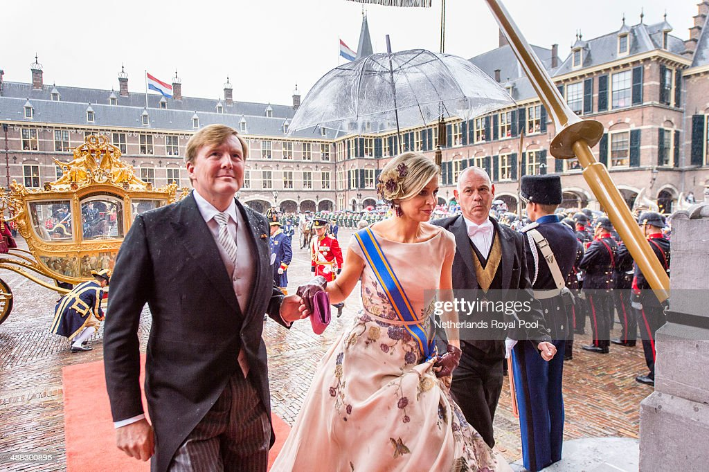 King Willem-Alexander of The Netherlands and Queen Maxima of The Netherlands arrive for the opening of the parliamentary year on September 15, 2015 in The Hague, The Netherlands.