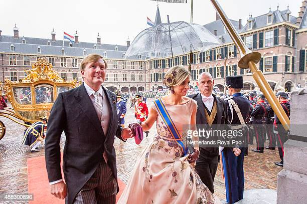 King WillemAlexander of The Netherlands and Queen Maxima of The Netherlands arrive for the opening of the parliamentary year on September 15 2015 in...