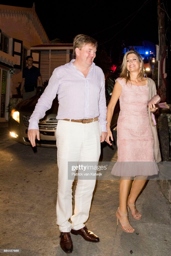 King Willem-Alexander of The Netherlands and Queen Maxima of The Netherlands arrive for their dinner at Saba Day on December 01, 2017 in The Bottom, Saba.