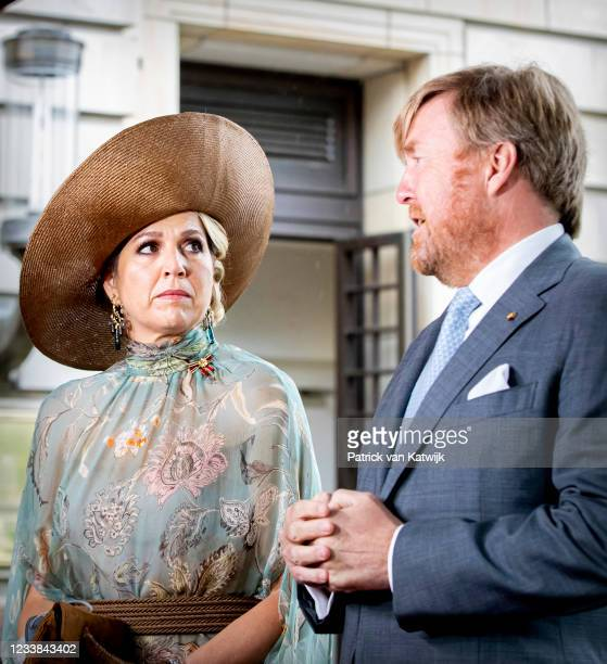 King Willem-Alexander of The Netherlands and Queen Maxima of the Netherlands give a statement on the shooting attack on Dutch rime reporter Peter R...