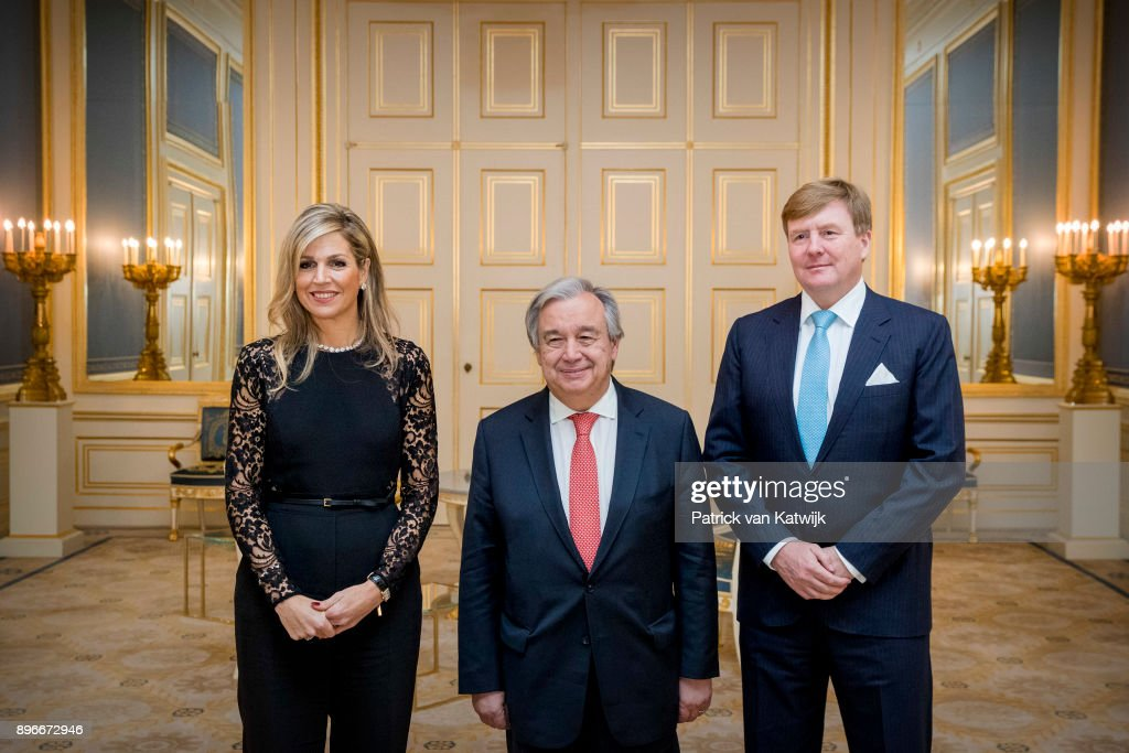 King Willem-Alexander Of The Netherlands and Queen Maxima Host Diner for UN Secretary General Guterres At Palace Noordeinde