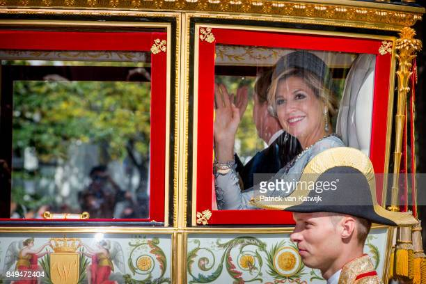 King WillemAlexander of The Netherlands and Queen Maxima of The Netherlands in the Glass Coach during Prinsjesdag on September 19 2017 in The Hague...