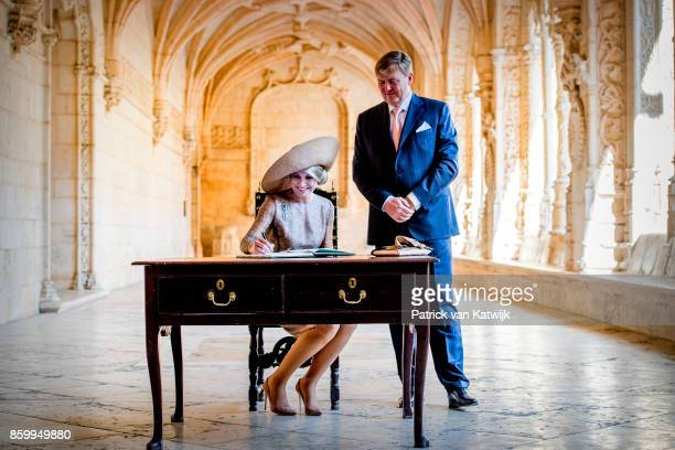 King WillemAlexander of The Netherlands and Queen Maxima of The Netherlands lay down a wreath at the tomb of poet Luis Vaz de Camoes followed by a...