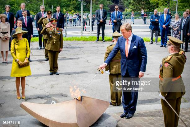 King WillemAlexander of The Netherlands and Queen Maxima of The Netherlands lay down a wreath at the Monument de la Solidarite Luxembourgeoise on May...