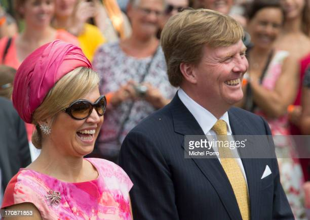 'SHEERENBROEK NETHERLANDS JUNE 19 King WillemAlexander of The Netherlands and Queen Maxima of The Netherlands make at official visit to the town...