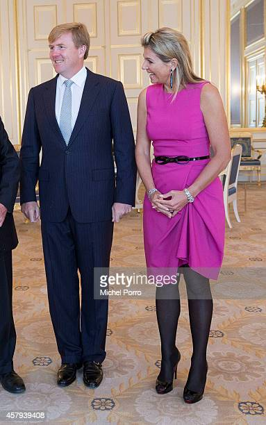 King Willem-Alexander of The Netherlands and Queen Maxima of The Netherlands meet are seen at the Noordeinde Palace during a meeting with Canadian...