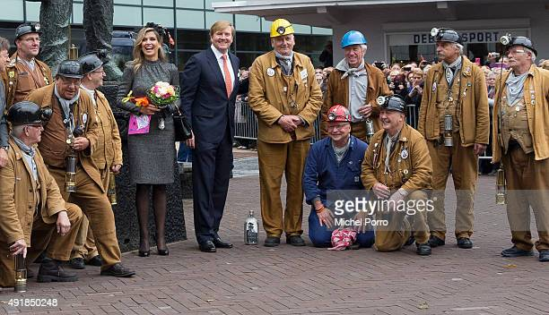 King WillemAlexander of The Netherlands and Queen Maxima of The Netherlands meet with retired miners near the Miner's Monument d'r Joep during a...