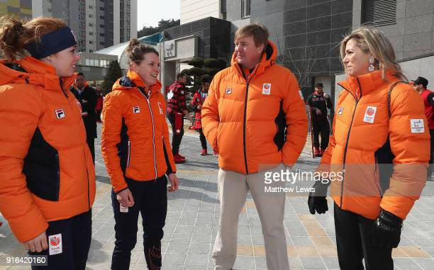 King WillemAlexander of the Netherlands and Queen Maxima of the Netherlands meet Netherlands athletes during a visit to the Gangneung Athletes...