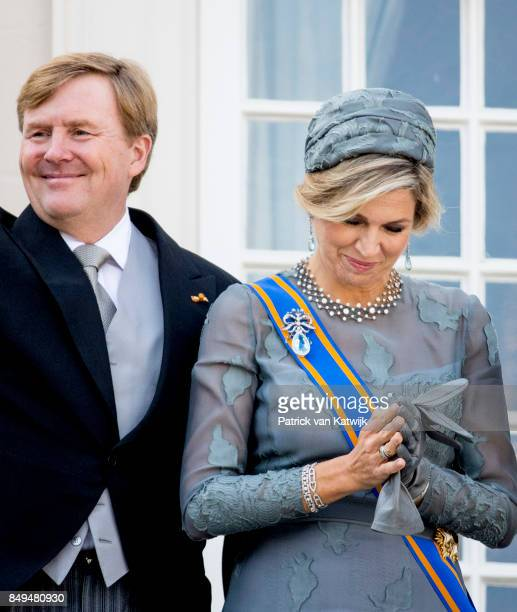 King WillemAlexander of The Netherlands and Queen Maxima of The Netherlands of the Netherlands at the balcony of Palace Noordeinde during Prinsjesdag...