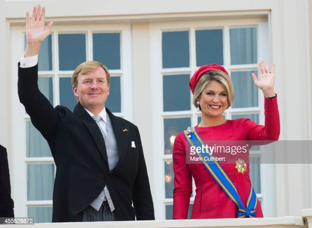 King WillemAlexander of the Netherlands and Queen Maxima of the Netherlands on the balcony of The Noordeinde Palace during Princes day celebrations...