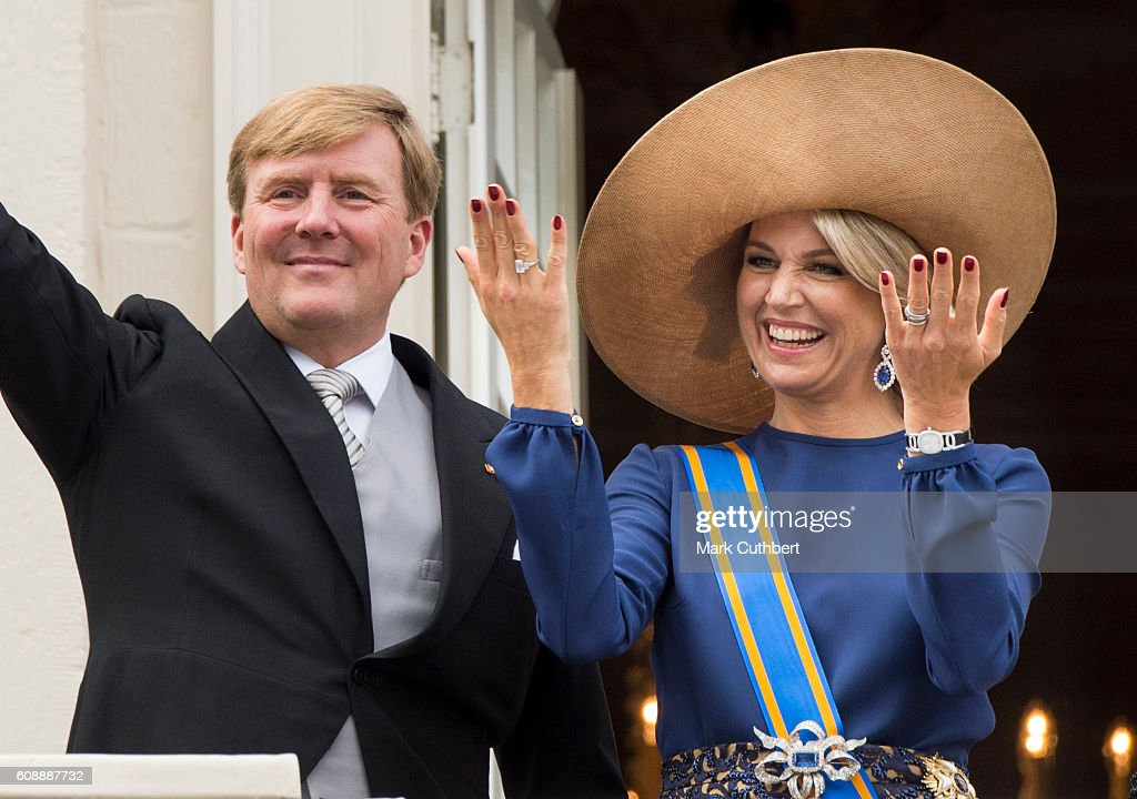 King Willem-Alexander of the Netherlands and Queen Maxima of the Netherlands on the balcony of The Noordeinde Palace during Princes Day on September 20, 2016 in The Hague, Netherlands.