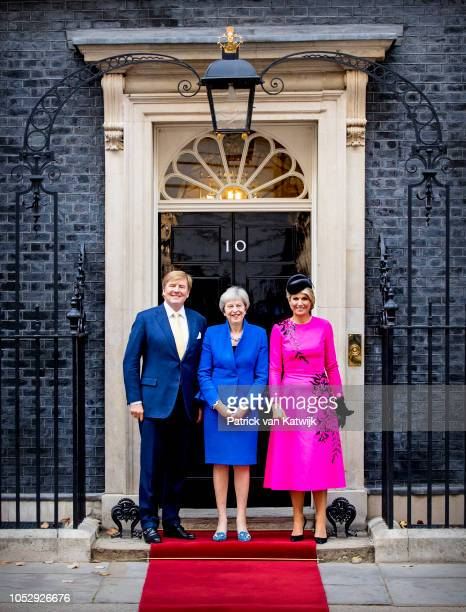 King WillemAlexander of The Netherlands and Queen Maxima of The Netherlands visits Prime Minister Theresa May at Downing Street 10 on October 24 2018...