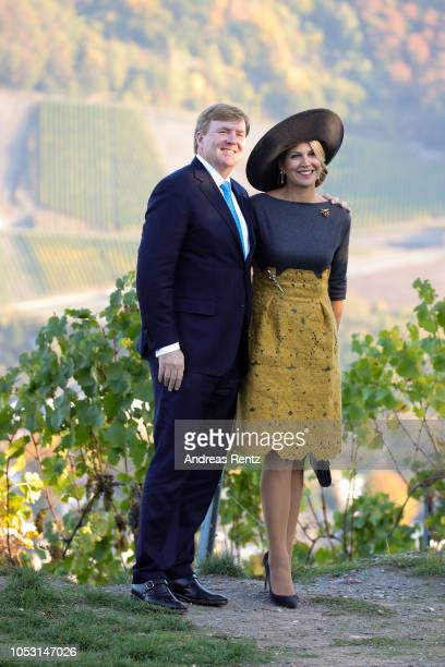 King WillemAlexander of The Netherlands and Queen Maxima of The Netherlands inspecting local vineyards in the Mosel region on October 10 2018 in...