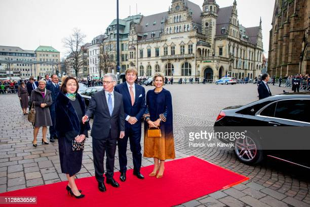 King WillemAlexander of The Netherlands and Queen Maxima of The Netherlands during their visit mayor Sieling and his wife Alexa Sieling at the...