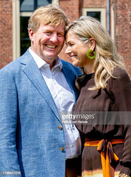 King WillemAlexander of The Netherlands and Queen Maxima of The Netherlands during their annual summer photo session at Huis ten Bosch Palace on July...