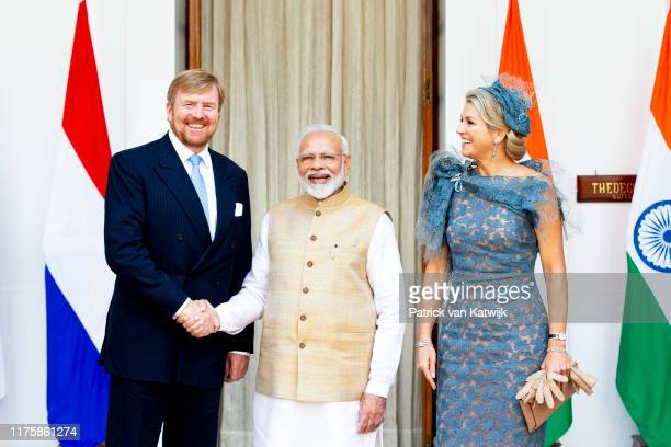 King WillemAlexander of The Netherlands and Queen Maxima of The Netherlands visit Prime Minister Narendra Modi on October 14 2019 in New Delhi India...