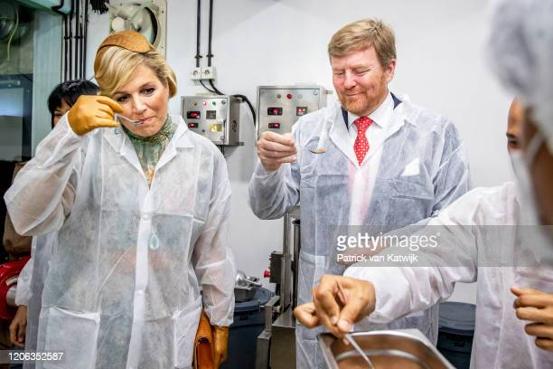 King WillemAlexander of The Netherlands and Queen Maxima of The Netherlands visit Pipiltin chocolate factory on March 10 2020 in Jakarta Indonesia...