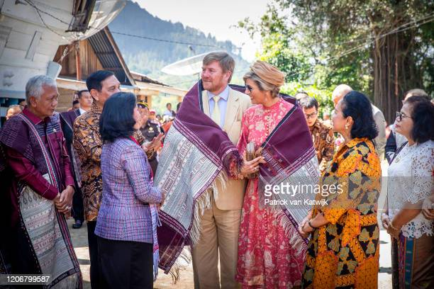 King Willem-Alexander of The Netherlands and Queen Maxima of The Netherlands visit Batak Village Siambat Dalan on March 12, 2020 in Tobalake,...
