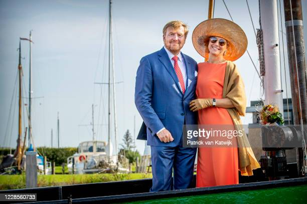King Willem-Alexander of The Netherlands and Queen Maxima of The Netherlands visit sailing school De Veenhoop during the region visit to South East...