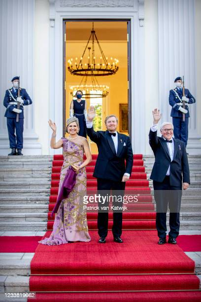King Willem-Alexander of The Netherlands and Queen Maxima of The Netherlands visit Schloss Bellevue where German President Frank-Walter Steinmeier...