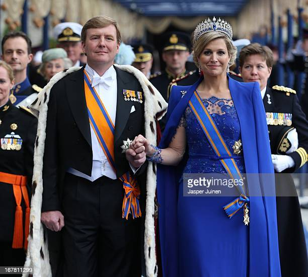 King WillemAlexander of the Netherlands and Queen Maxima of the Netherlands leave after the inauguration ceremony of King Willem Alexander of the...