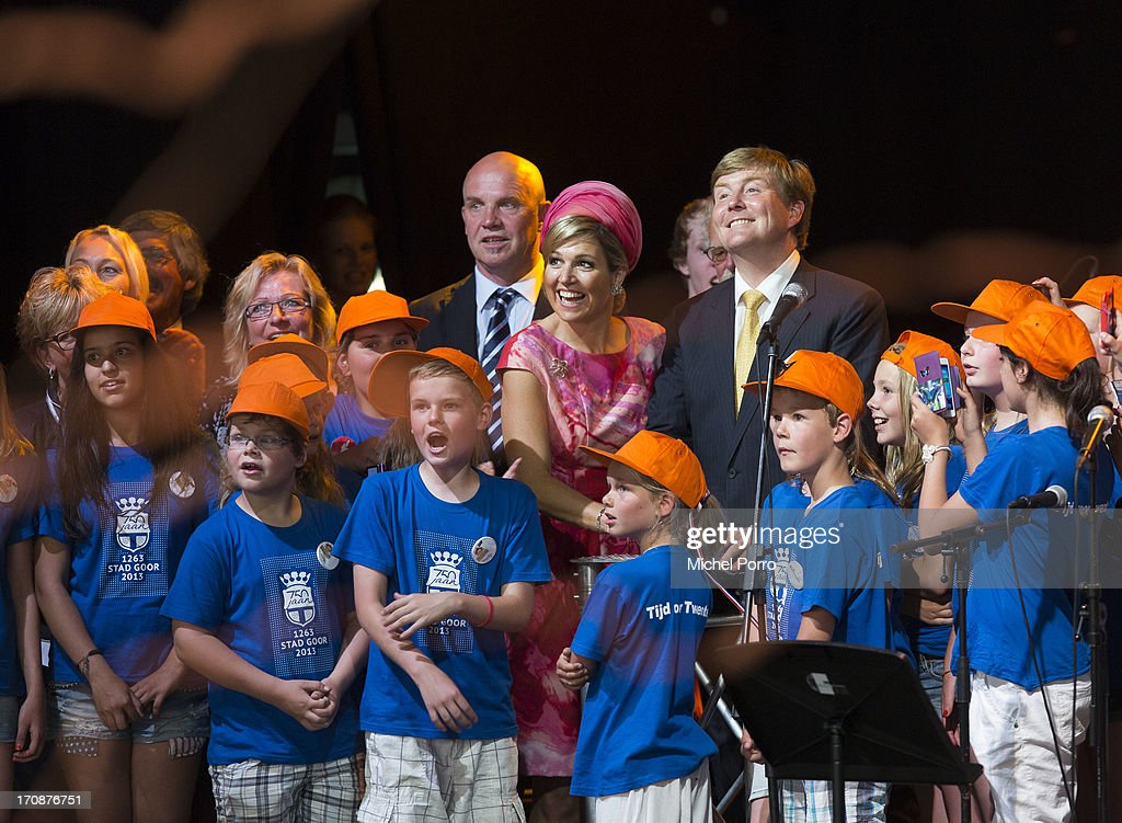 King Willem-Alexander of The Netherlands and Queen Maxima of The Netherlands officially kick off celebrations for the 750th anniversary of Goor during an official visit to the town centre on June 19, 2013 in Goor, Netherlands.