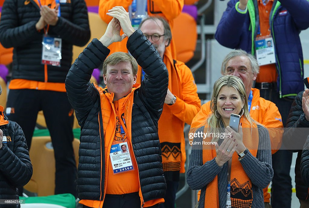 King Willem-Alexander of the Netherlands and Queen Maxima of the Netherlands congratulate medalists after the Men's 500 m Race x of 2 Speed Skating event during day 3 of the Sochi 2014 Winter Olympics at Adler Arena Skating Center on February 10, 2014 in Sochi, Russia.