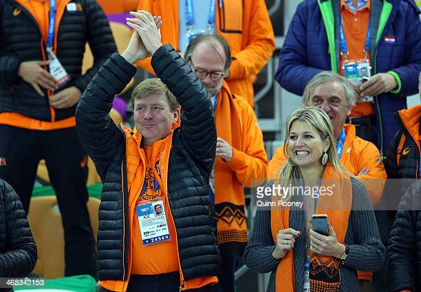 King WillemAlexander of the Netherlands and Queen Maxima of the Netherlands congratulate medalists after the Men's 500 m Race x of 2 Speed Skating...