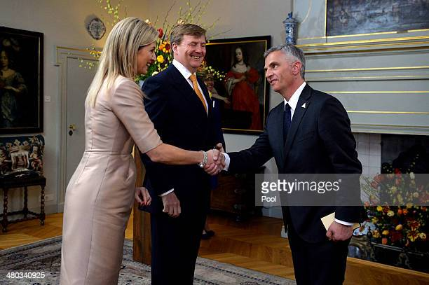 King WillemAlexander of The Netherlands and Queen Maxima of The Netherlands greet Swiss President Didier Burkhalter at the Royal Palace Huis ten...