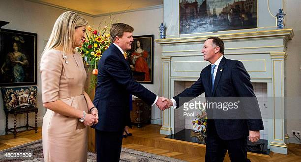 King WillemAlexander of The Netherlands and Queen Maxima of The Netherlands greet Prime Minister of New Zealand John Key at the Royal Palace Huis ten...