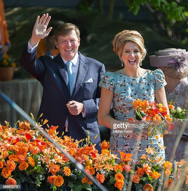King WillemAlexander of The Netherlands and Queen Maxima of The Netherlands celebrate King's Day on April 26 2014 in De Rijp Netherlands