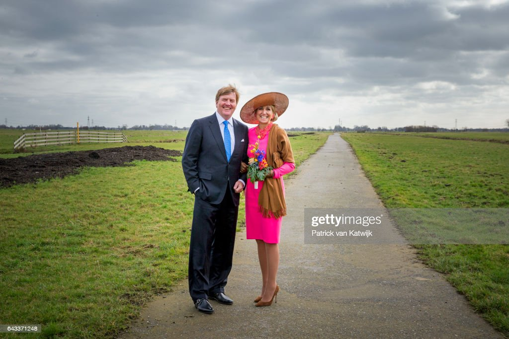 King Willem-Alexander of the Netherlands and Queen Maxima of the Netherlands visit guest farm De Appelgaard on February 21, 2017 in Gouderak, Netherlands.